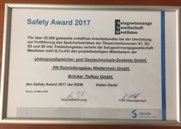 Urkunde Safety Award